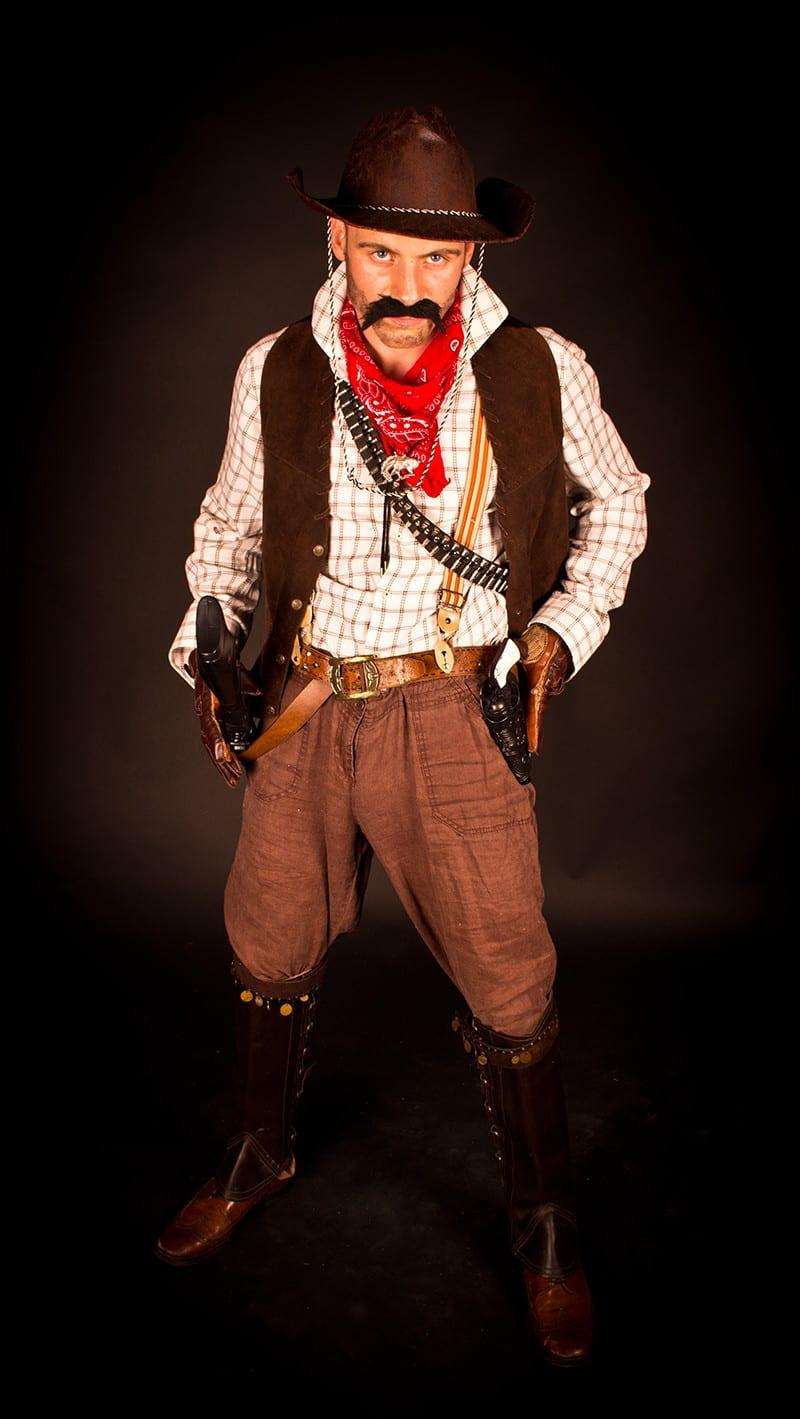 Western cowboy on foot