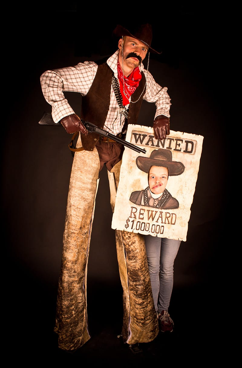 Cowboy complete with 'Wanted' poster