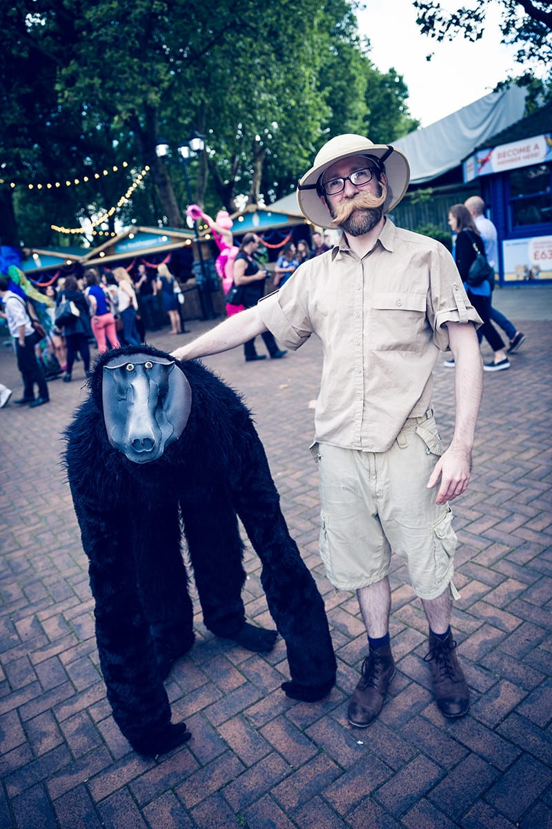 Baboon and explorer at ZSL nights